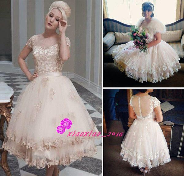ba2fbd2d90c6 Vintage Champagne Lace 2016 Short Beach Wedding Dresses Sheer Scoop Neck  Cap Sleeves House Of Mooshki