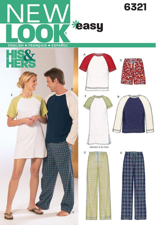 Unisex Sleepwear Pajama Sewing Pattern 6321 New Look | Underwear ...