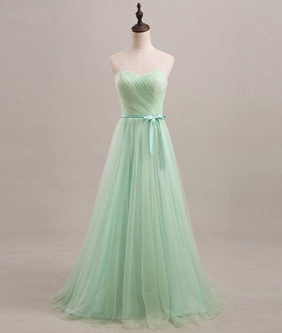 €90 Minze Sweetheart Brautjungfer Kleid / langes von PhoebeDressShop ...