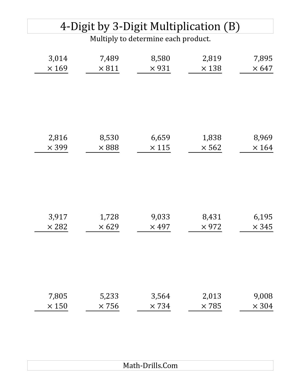The 4-Digit by 3-Digit Multiplication (B) Long Multiplication Worksheet    Multiplication worksheets [ 1584 x 1224 Pixel ]