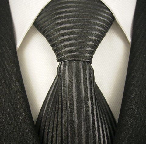 Neckties By Scott Allan, 100% Silk Woven Tie, Black and Silver Vertical Stripe $14.99