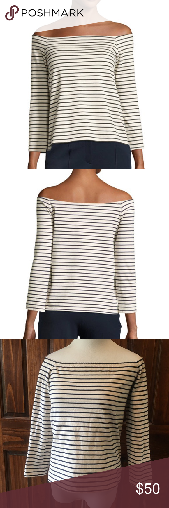 28ab081e6b38 Theory Aprine Classic Stripe Off-The-Shoulder Top Theory