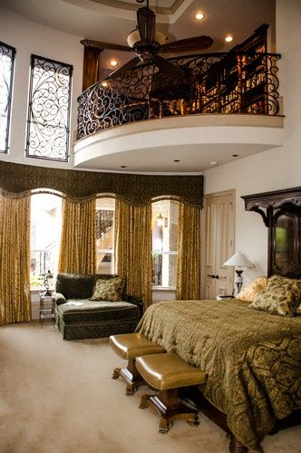 Mediterranean Bedroom With An Indoor Balcony