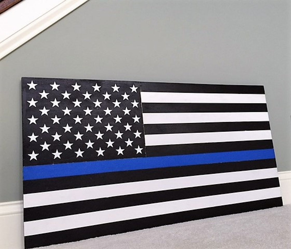 36 X 19 Large Hand Crafted Thin Blue Line Wood Etsy American Flag Wood Wood Flag Thin Blue Lines