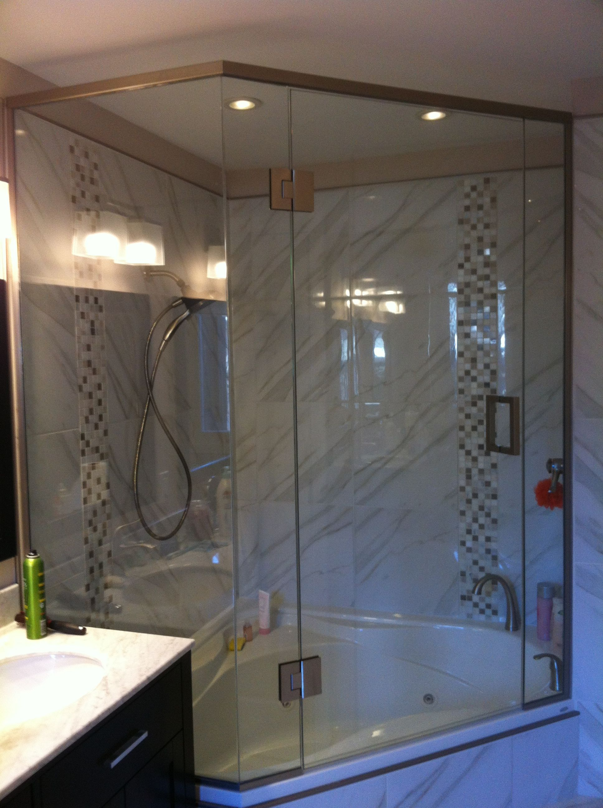 Shower Enclosure Above Neo Angle Jacuzzi Tub Square Hardware