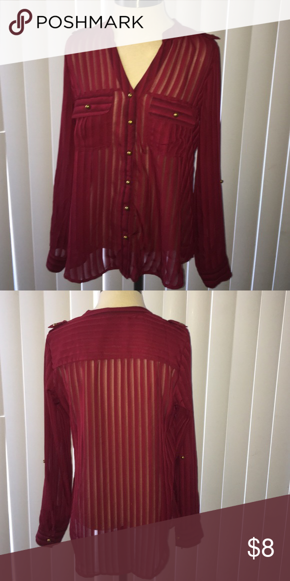 Sheer Maroon Top Sheer Maroon Top with gold buttons. Works well for business or leisure options. It's see through so a nice Cami under it will be perfect Tops Button Down Shirts