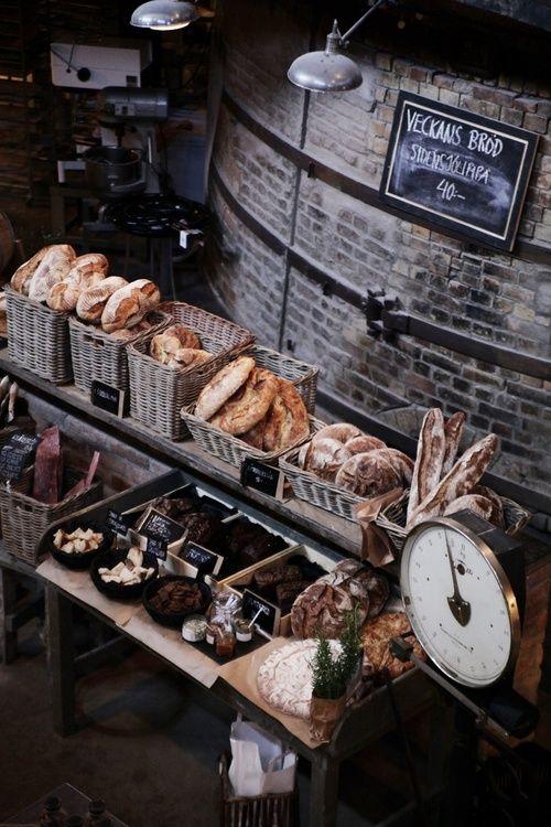 Old bakery; rustic chalkboard signs, brick, baskets