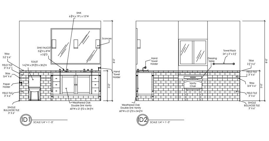 Guest Bath Elevations 1 2 Ada Pinterest Autocad Guest Bath And Bath