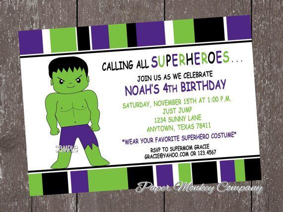 1c79d0f07624ca5e2077b85d5c5c6db5 hulk superhero birthday invitations with by papermonkeycompany,Hulk Birthday Invitations