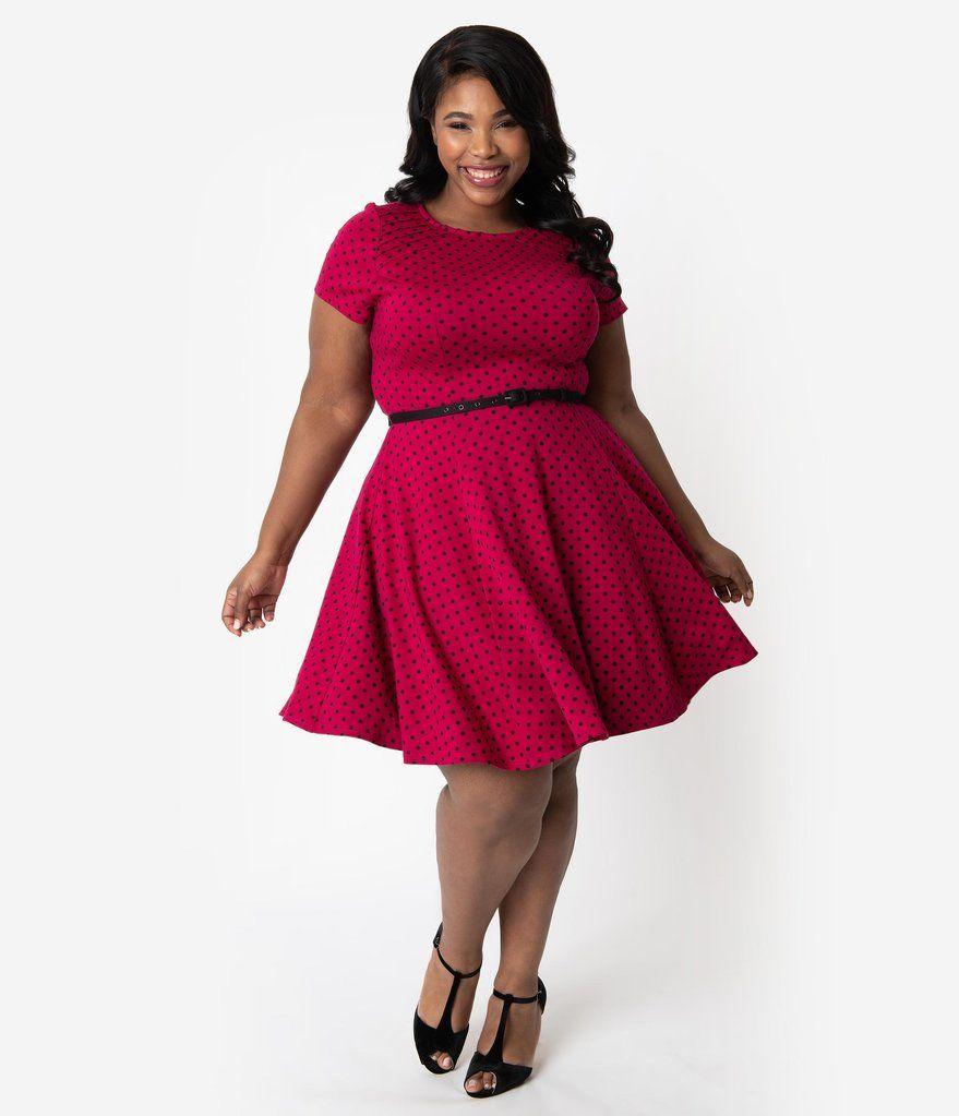 Unique Vintage Plus Size Raspberry & Black Polka Dot Stephanie Fit & Flare Dress 1