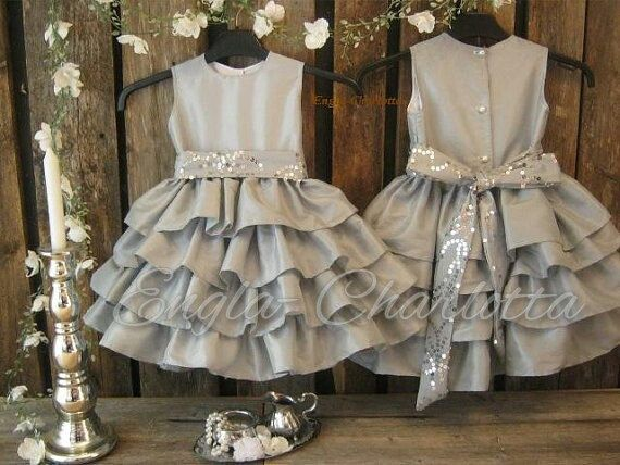 Silver flower girl dress. Grey girls ruffle dress. Winter wedding ...