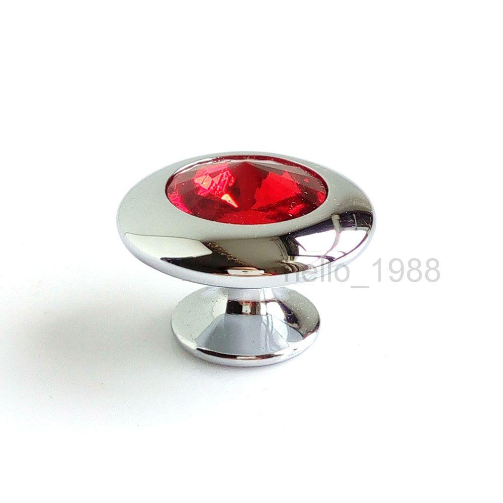 pas cher 5 pcs rouge cristal en verre cabinet bouton clair cuisine