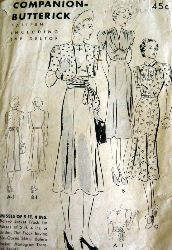 RARE VTG 1930s DRESS & JACKET Sewing Pattern 15/33