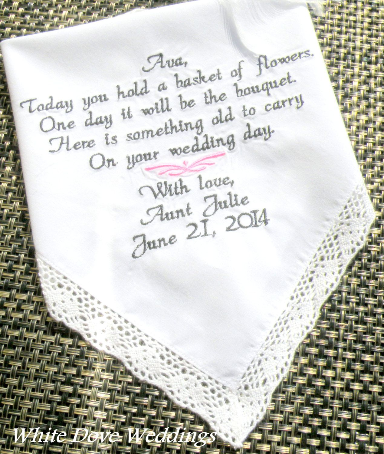 Flower Girl Embroidered Wedding Handkerchief Gift and