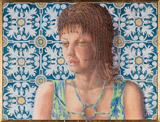 Barbara Gatti Cocci  Titolo - Azulejos - matite colorate e acrilici su tavola - cm 80 x 60 - anno 2014