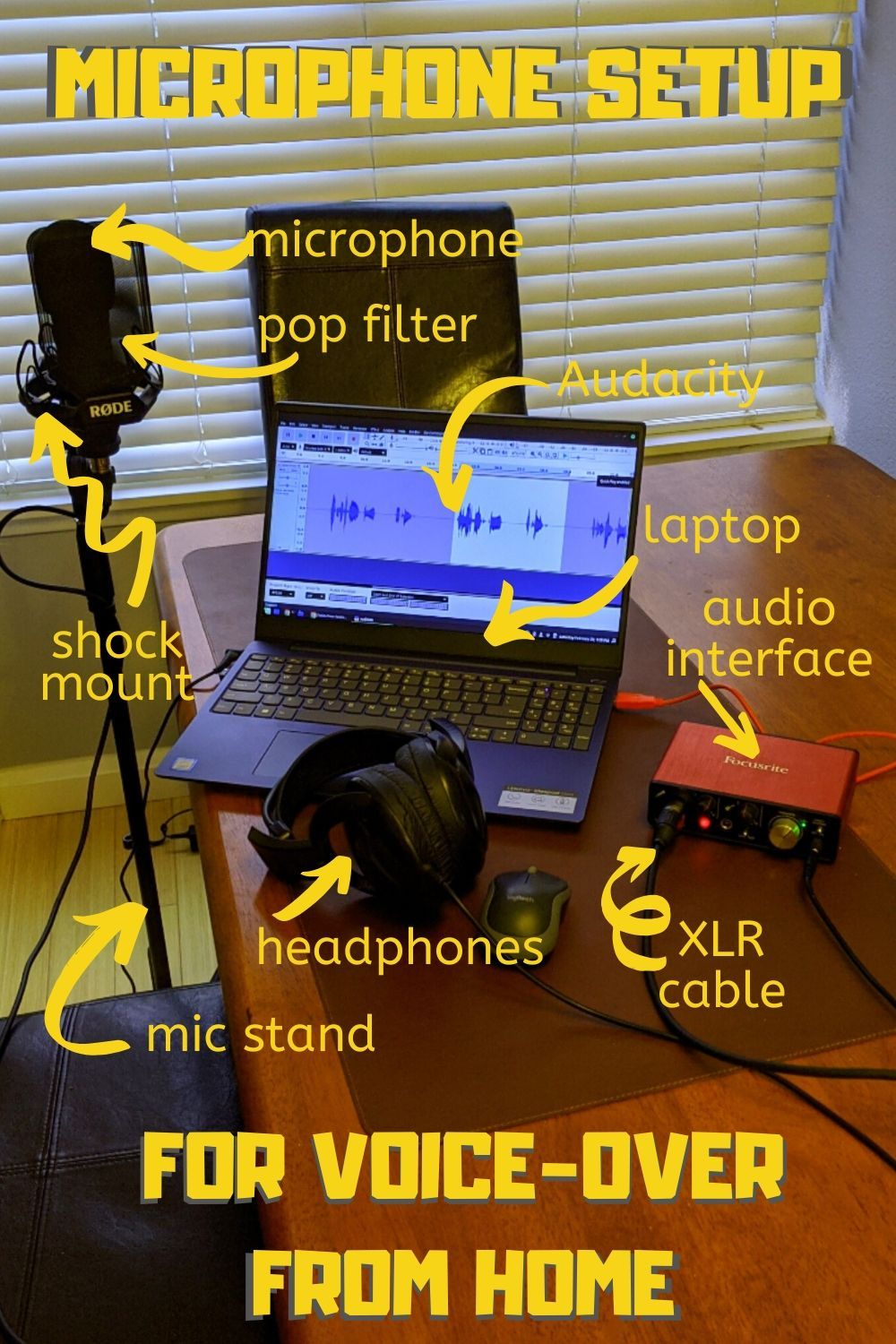Microphone setup for beginners to voiceover from home in