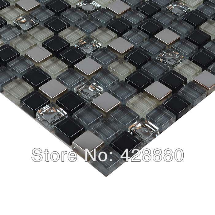 crystal glass tile sheets kitchen backsplash wall sticker metal