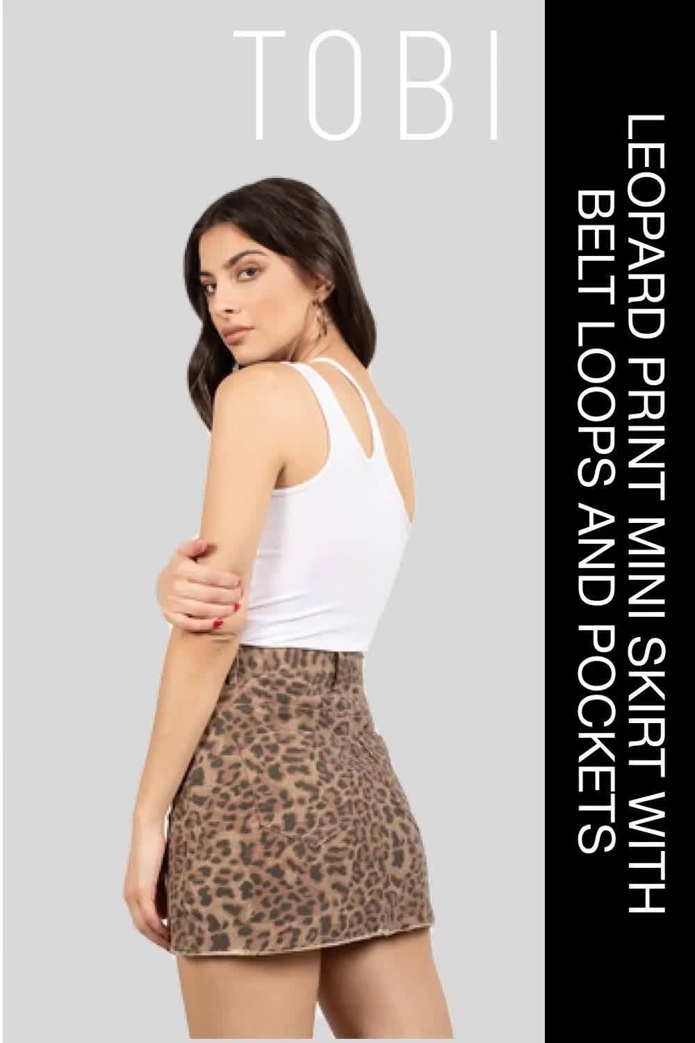 Be more stylish in this fashionable leopard print mini skirt with belt loops and pockets. Complete your full outfit with a pair of ankle boots or heels. Shop our wide selection of women's ready to wear casual weekend skirts, bottoms, and trendsetting night out fashion clothing outfits in the latest styles from TOBI online. #shoptobi #womensfashion #skirts #skirtoutfits #bottomsforwomen #casualoutfits #fashiontrends #fashionoutfits