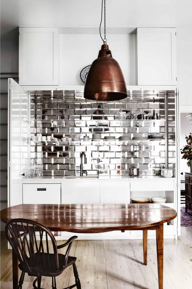 Pin by kaylene marisol on grt pinterest modern and kitchens saw the mirrored subway tiles at home depot peel and stick loooove dailygadgetfo Choice Image