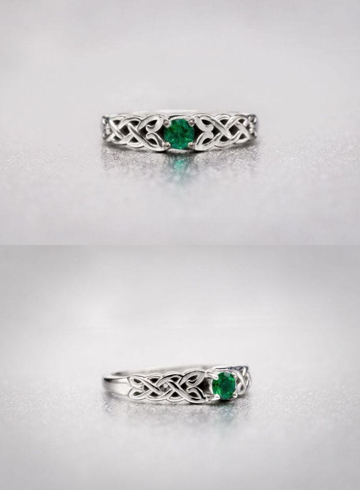 A Simple Irish Engagement Ring Design Surrounds A Round Green Emerald With Celtic Celtic Emerald Engagement Ring Irish Engagement Rings Custom Engagement Ring