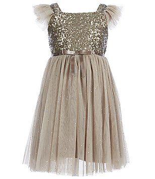 5a62a6adbd49 Popatu Little Girls 2-6 Glitter Flutter-Sleeve Tulle Dress   Moon ...