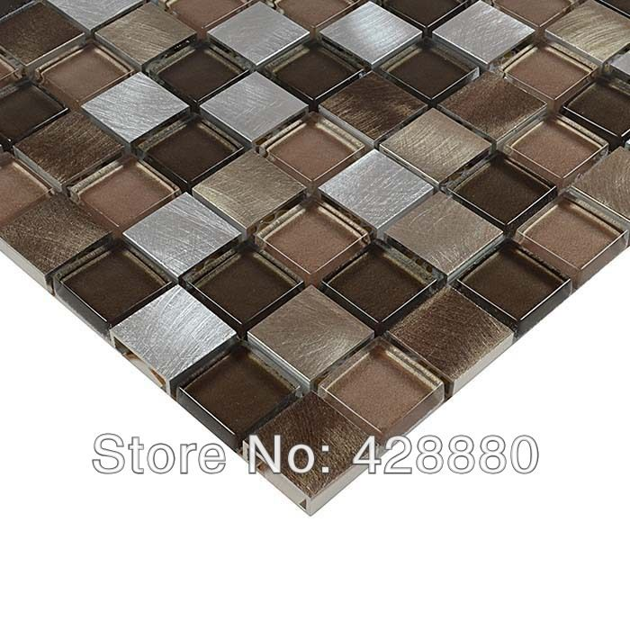 Crystal Glass Mosaic Wall Tiles Stainless Steel Backsplash Kitchen Bathroom Metal Mix Glass Tile Metallic Floor Stickers Hx0008