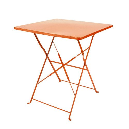 Table de jardin pliante en métal orange L 70 cm | extérieur ...