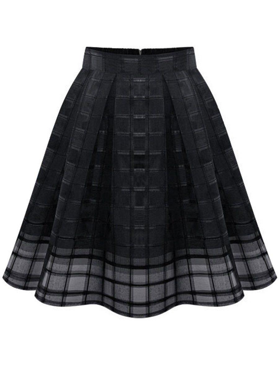 Women Organza Midi Skirts High Waist Zipper Pleated A Line Tulle Skirts Hollow