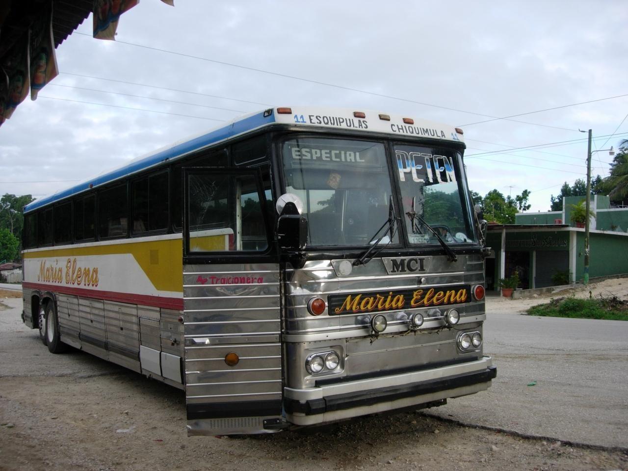 Transportes Maria Elena MCI MC-9   Ex-Greyhound type (MCI) buses in