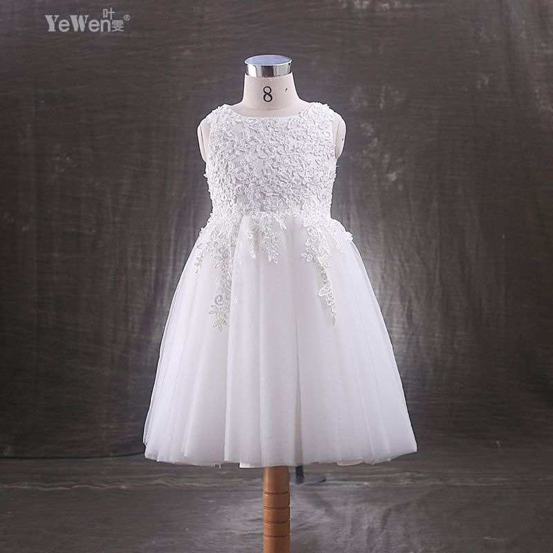 Click to Buy << Yewen Ankle-Length Ivory Bow Child flower girl ...