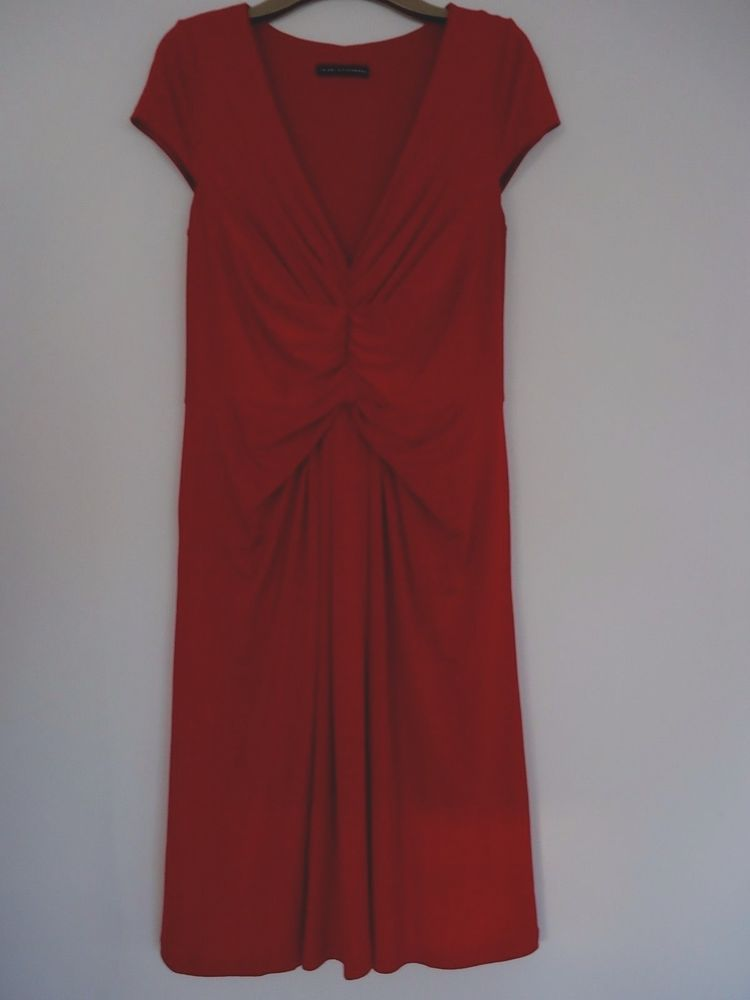 Trinny and Susannah Dark Red Ruched Front Wiggle Cocktail Dress Size 12