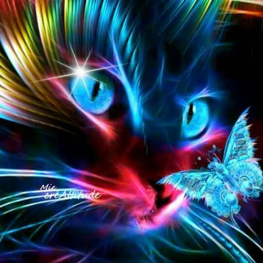 Neon Cat Cats in 2019   Cat art, Neon cat, Cute animal ...