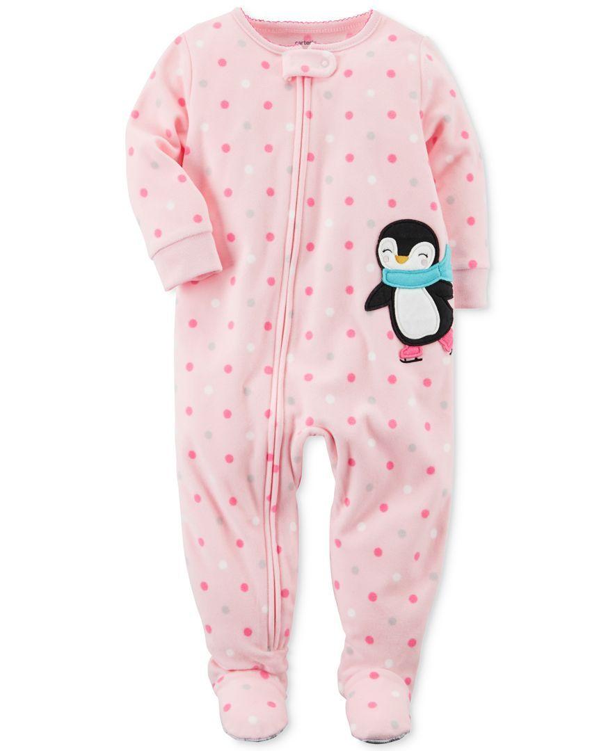 bf10e5600 Carter s 1-Pc. Dot-Print Penguin Fleece Footed Pajamas