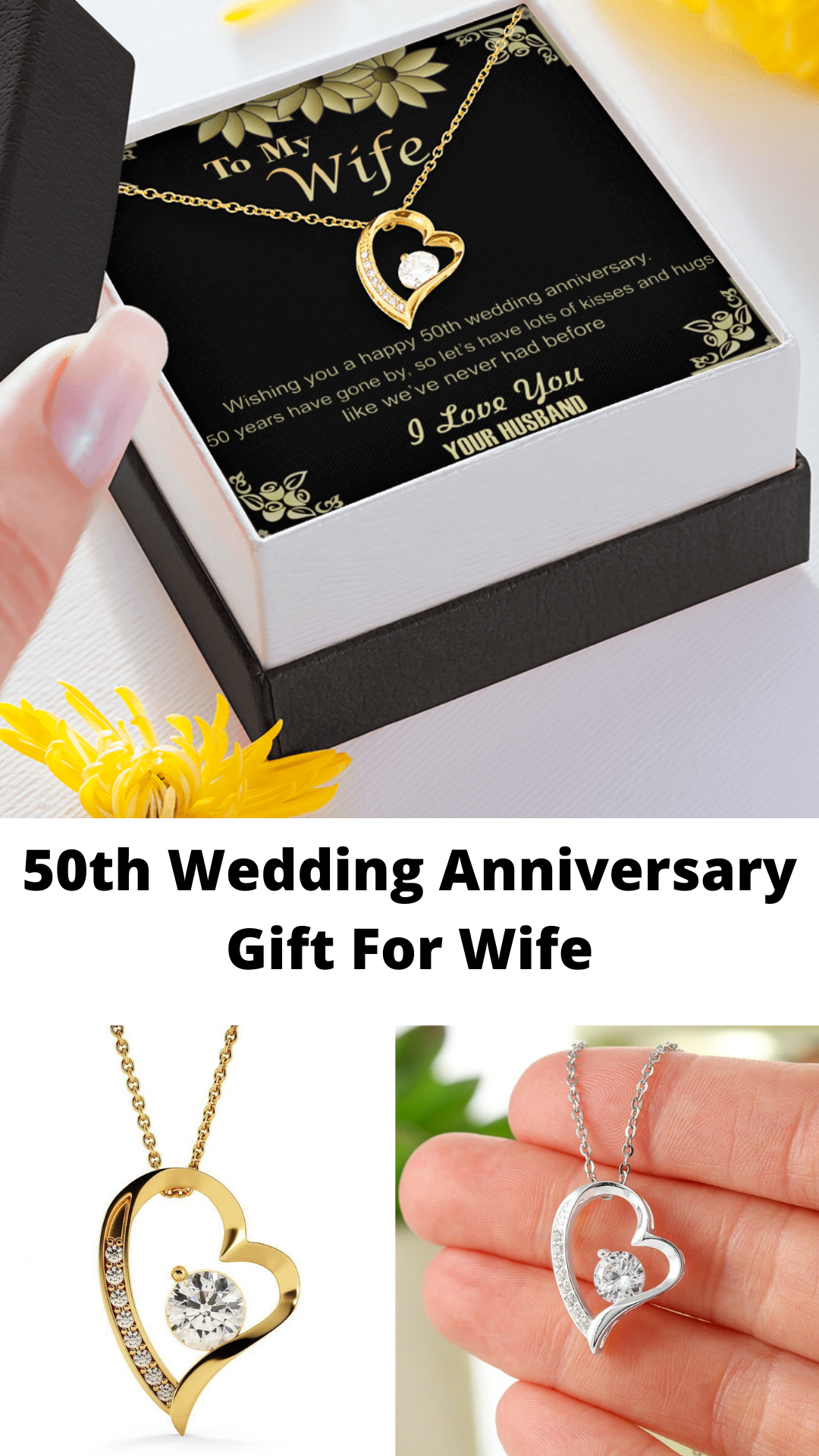 50th Golden Wedding Anniversary Pendant Necklace Gift For Wife Her Gold Present Jewelry Ideas In 2020 50 Wedding Anniversary Gifts 50 Golden Wedding Anniversary Anniversary Jewelry Gifts