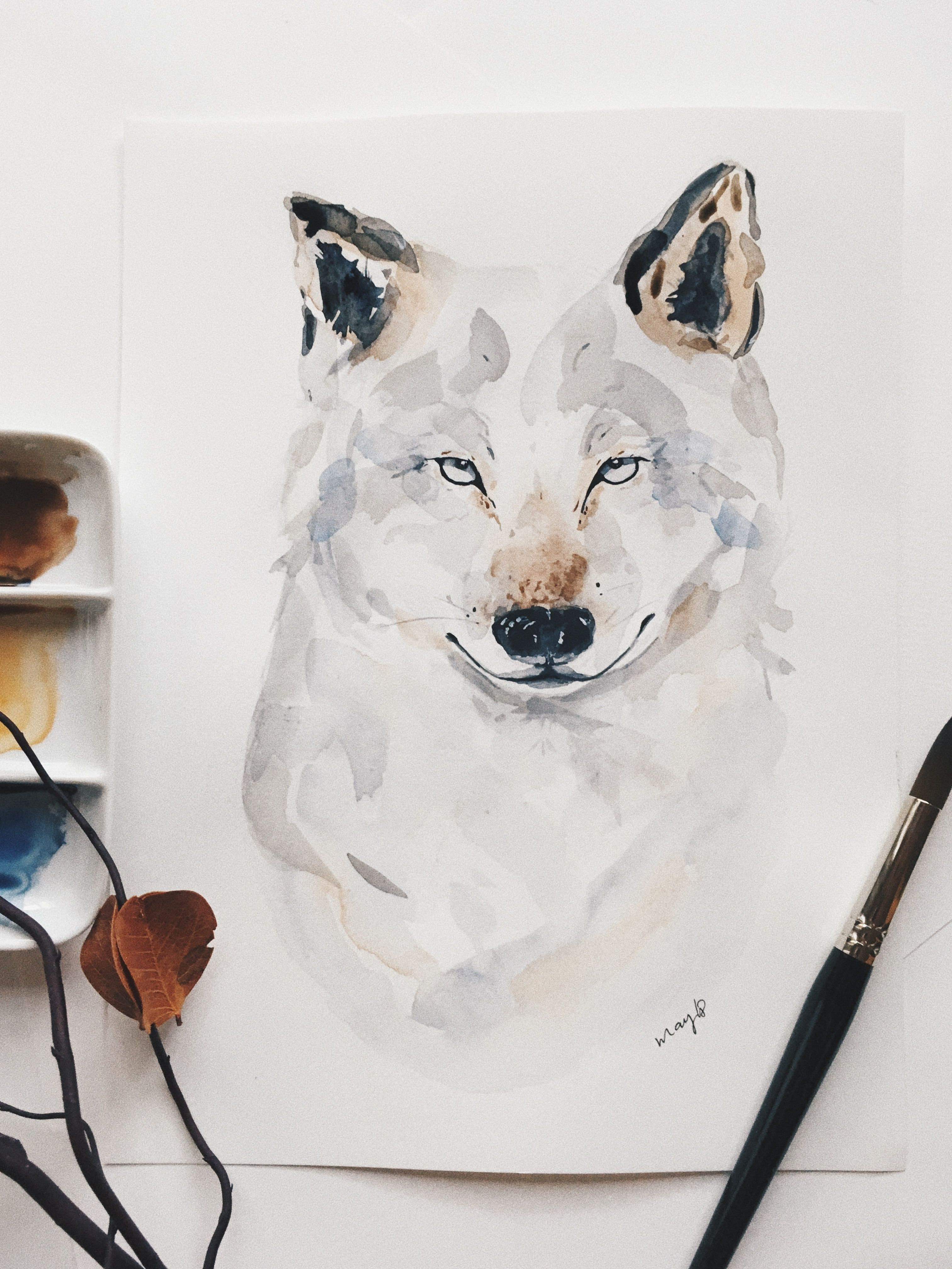 Wolf Layers Wolf Art Watercolour Watercolor Loup