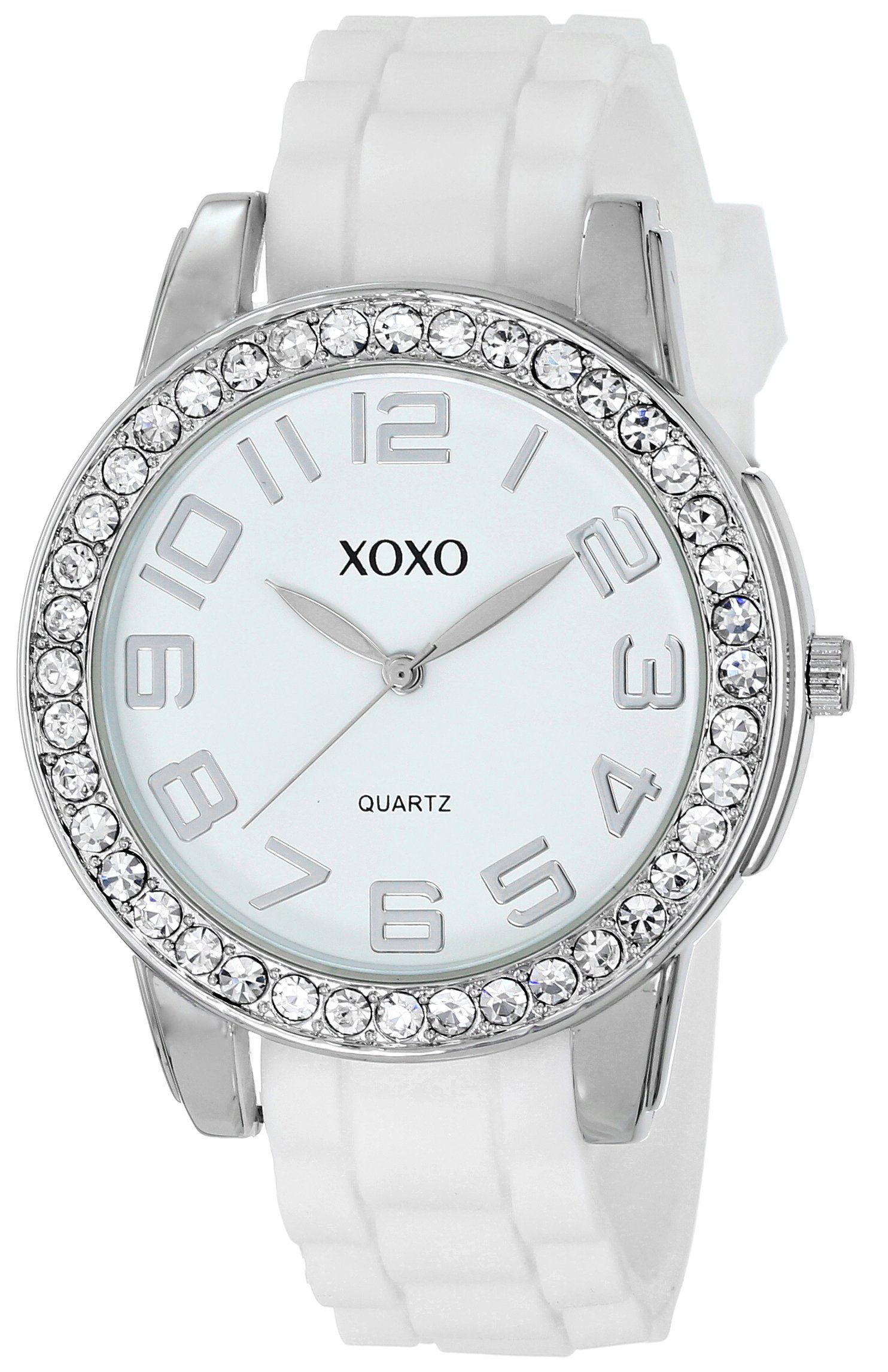 XOXO Womens Analog Watch with SilverTone Case CrystalInset