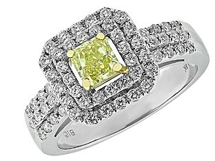 Fancy White and Yellow Diamond Ring 14K Two Tone Gold From Gemologica (Online at Gemologica.com)