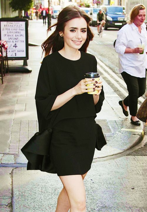 lily collins in black on black #citychic