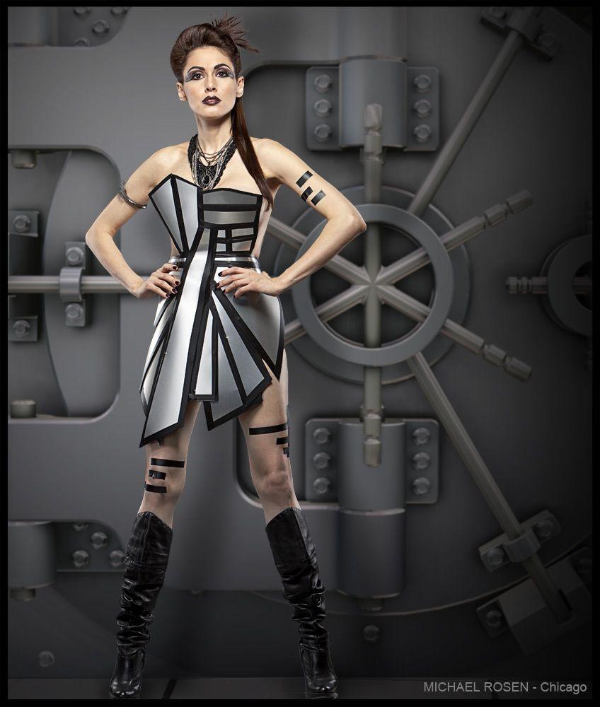 metal dress futuristic fashion futuristic metal dress chicago wardrobe designer avant. Black Bedroom Furniture Sets. Home Design Ideas
