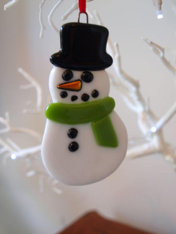 Fused Glass Snowman Christmas Decoration On Etsy 163 9 50