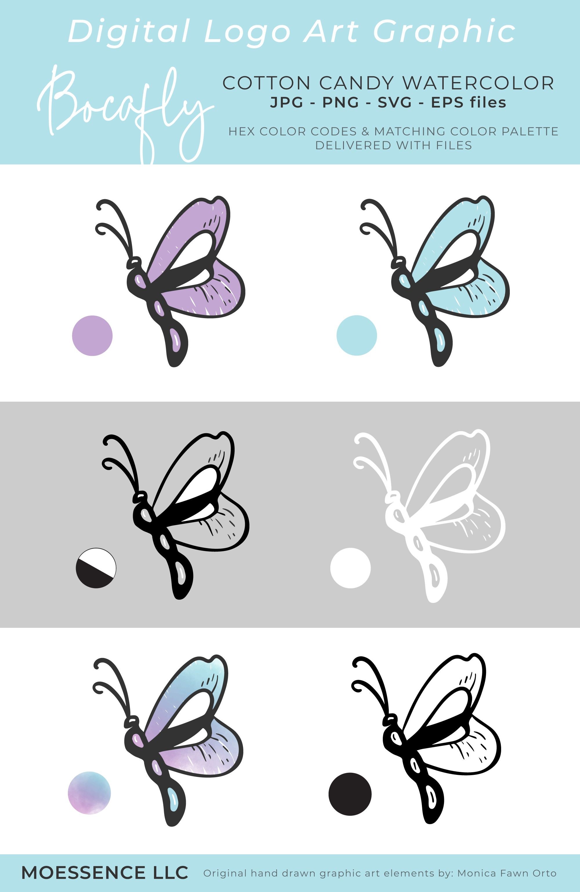 Bocafly Purple Blue Logo Mark Watercolor Logo Butterfly