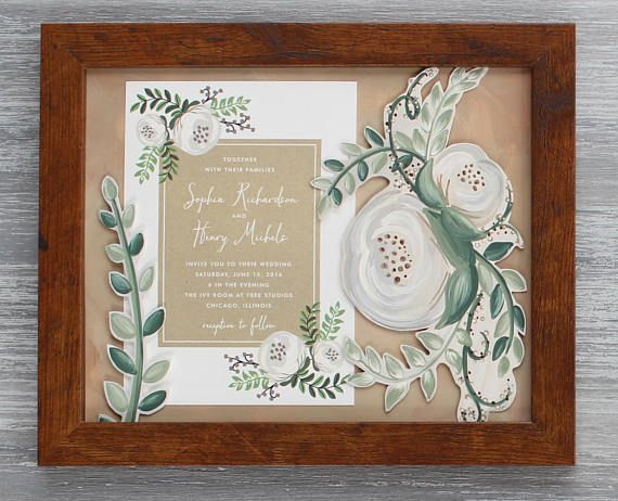 Framed Wedding Invitation Painting 8 X 10 Unique Wedding Gift