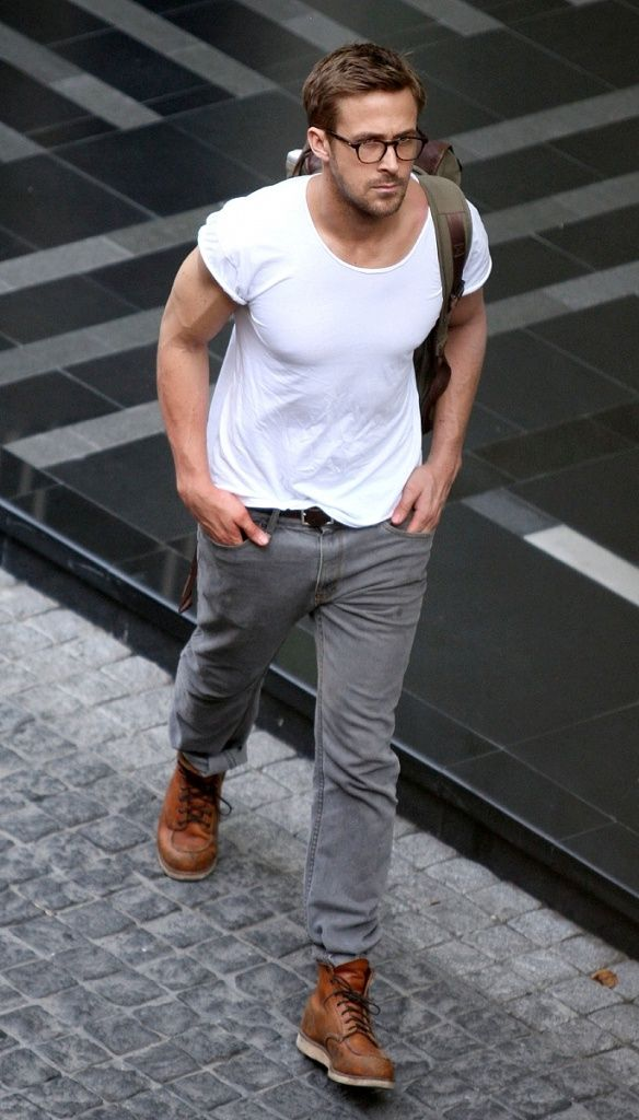 384eb836074 Ryan Gosling wearing White Crew-neck T-shirt