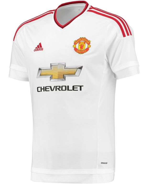 The adidas Manchester United Mens Away shirt is an alternate white shirt  with the down sleeve in traditional Red for Man Utd Fans.