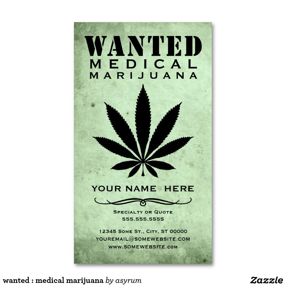 Wanted Medical Marijuana Double Sided Standard Business Cards Pack Of 100