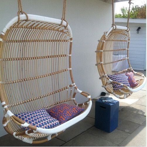 Double Hanging Rattan Chair. What A Fun Feature #furniture #outdoor