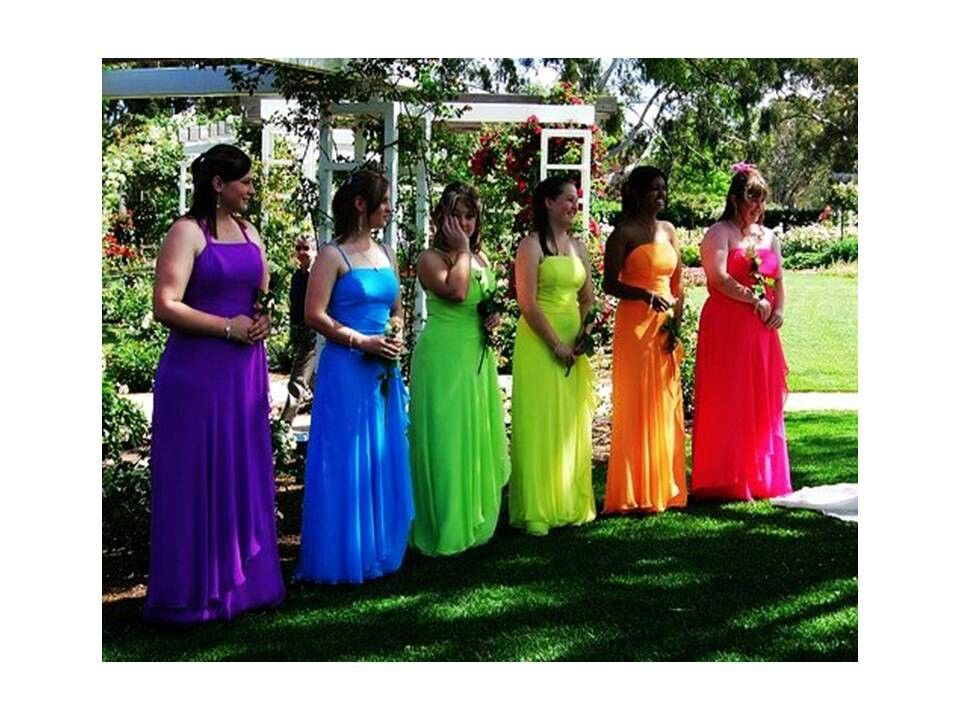 Rainbow bridesmaids colorful bridal ideas pinterest rainbow yellow weddings rainbow bridesmaids junglespirit Image collections