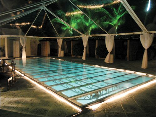 Plexiglass pool cover rental wow i 39 m sure this is a budget buster but it 39 s soooo cool - Cool pool covers ...