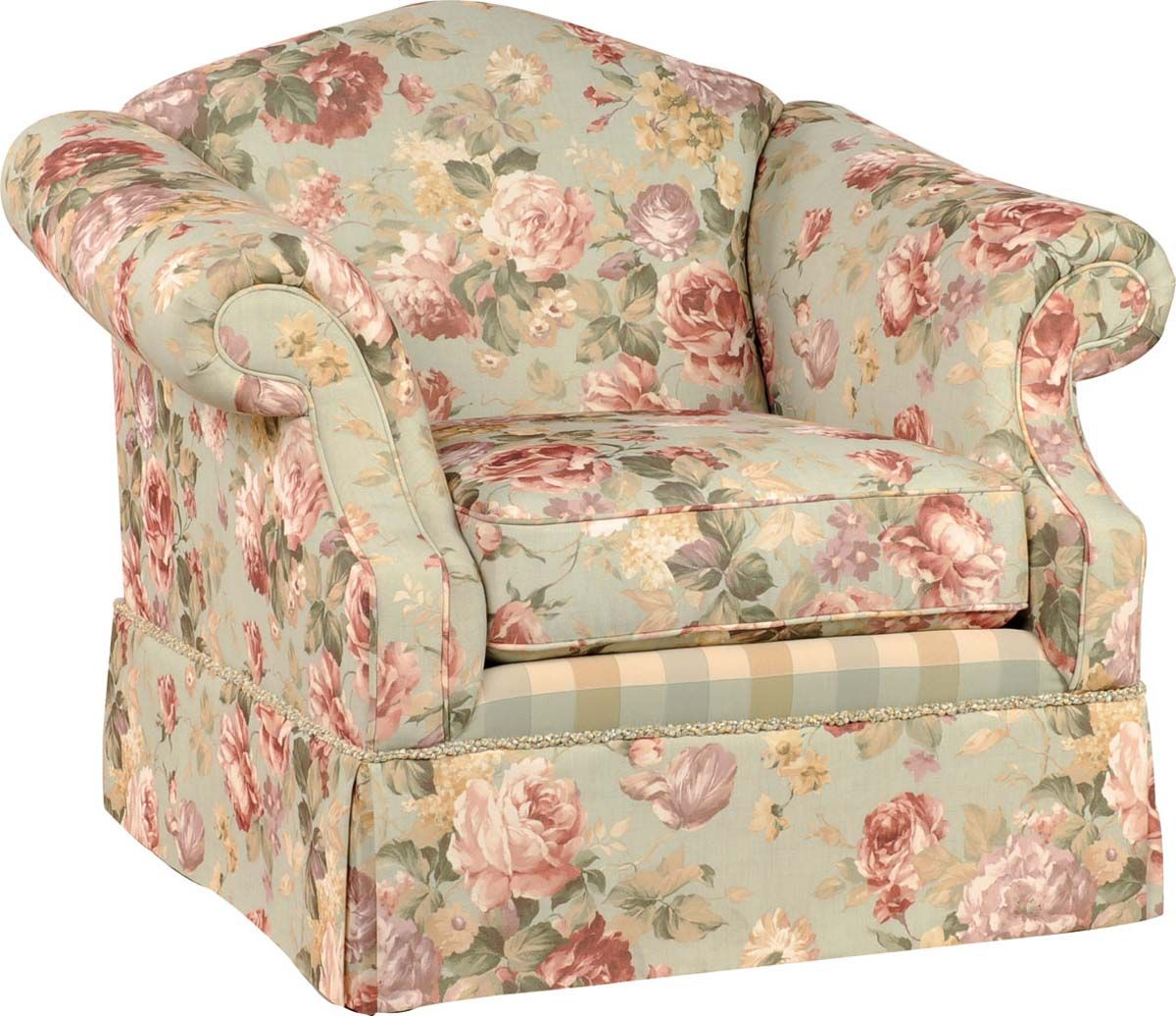 Beautiful Rose Pattern Accent Chair Plus Rolled Arms Country