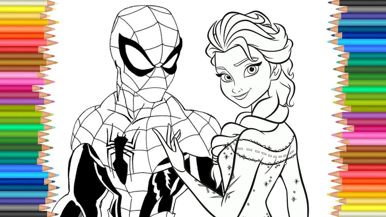 Spiderman Frozen Elsa Disney Coloring Page Lcoloring Book Fun Videos F Super Herois Baby Super Heroi Herois